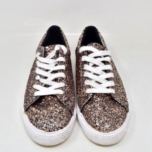 Shoes Bershka Glitter Gold Roses N