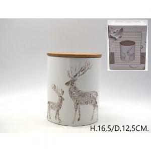 Barattolo Ceramica Con Disegno Renne In Rilievo e Tappo in Legno H16.5xD12.5 cm