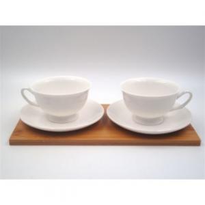 Vetrochina Set Tazze in Ceramica e Base in Legno P18857