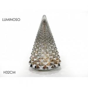 General Trade Albero In Vetro Silver Con luci Led 32 Cm Alto