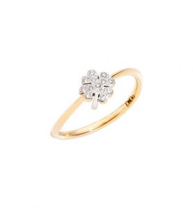 ANELLO QUADRIFOGLIO Oro giallo 18kt, Diamanti