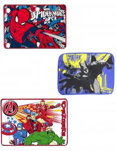 N. 3 Tovagliette all'Americana Vari Personaggi in Misto Cotone (Avengers - Spiderman - Batman)