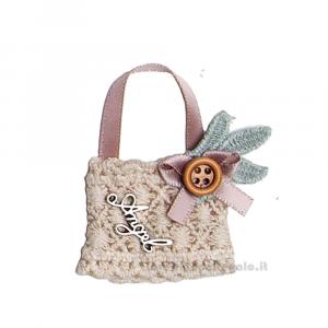 Decorazione borsetta Rosa con scritta Angel 5 cm - Decorazioni battesimo bimba