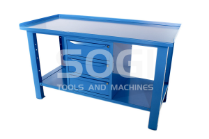 Banco da lavoro 1,5 mt piano in acciaio + armadio a 3 cassetti serie industria SOGI X3B-10c