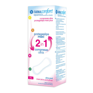 FarmaConfort Pantyliners Maxi 2in1 Sanitary Napkin Ultra 24 Unità