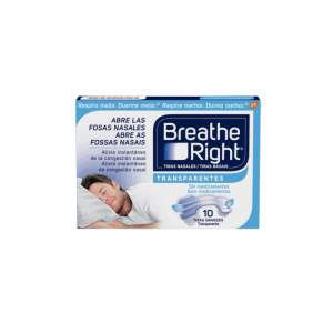 Breathe Right Nasal Transparent Strips Large Size 10 Units