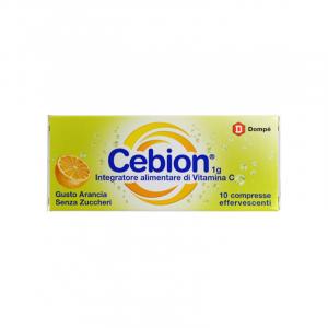 Cebion Integratore Vitamina C 1 g Gusto Arancia Senza Zucchero-10 compresse efferv.