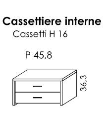 CASSETTIERA INTERNA 2 CASSETTI PER BATTENTE GOLF