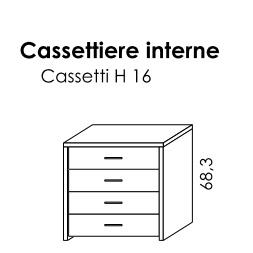 CASSETTIERA INTERNA 4 CASSETTI PER BATTENTE GOLF