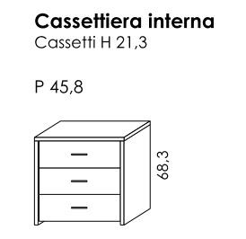 CASSETTIERA INTERNA 3 CASSETTI h21 PER BATTENTE GOLF BY COLOMBINI