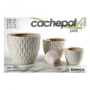 Cachepot Set 4 Vasi in Ceramica Bianco