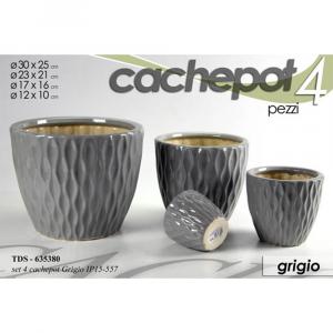 Cachepot Set 4 Vasi in Ceramica Grigio