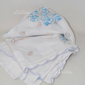 Cover Letto Double White With Flowers Blue And Decorations 200*240 Cm