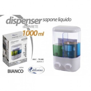 Gicos Set 2 Dispenser per Sapone Capienza 1000 ml Bianco Con Due Spazi Da Parete