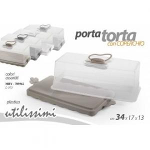 Gicos Porta Torta 34x17x13 cm Con Coperchio Trasparente e Base Beige Ideale per Conservare Torte Dolci e Salate