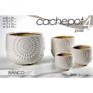 Cachepot Set 4 Vasi in Ceramica Bianco Borchiato