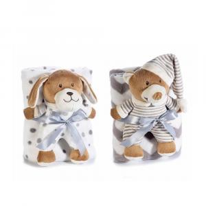 Coppia di animali di peluche con coperte in pile