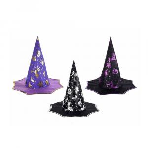 Set 6 cappelli da strega in stoffa Halloween metallizzati