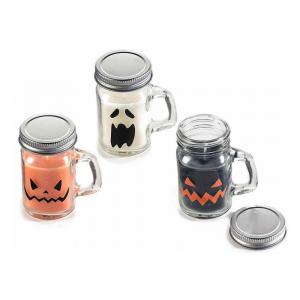 Set 6 candele profumate di Halloween in boccale di vetro