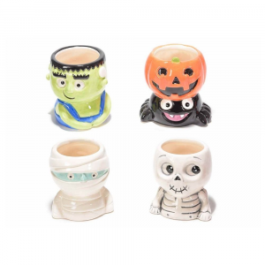 Set 8 vasetti di Halloween in ceramica colorata