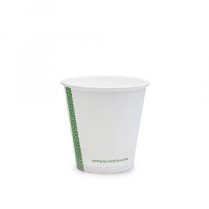 Bicchieri biodegradabili cartoncino 180ml bianchi serie green stripe D80