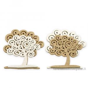 Applicazione Albero della Vita bicolore in legno 4.5x5.5 cm - Decorazioni
