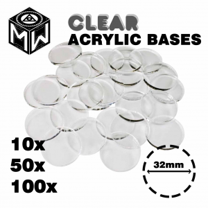 3mm Acrylic Clear Bases, Round 32mm