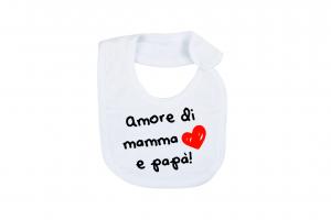 """Bavetta in cotone con stampa """"amore di mamma e papà"""""""