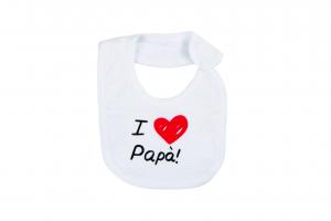 "Bavetta in cotone con stampa "" I love papà"""