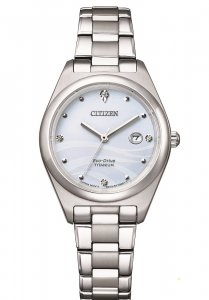Citizen Lady Supertitanio, quadrante bianco con diamanti