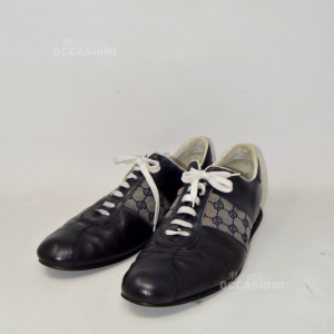 Shoes Man Gucci Original Black With Laces White N 45