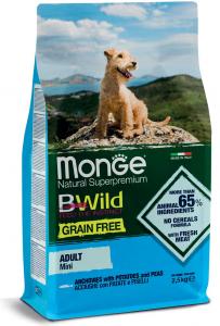 MONGE B-WILD GRAIN FREE - ACCIUGHE, PATATE E PISELLI - MINI ADULT 2,5 KG