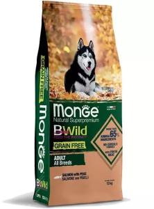 MONGE B-WILD GRAIN FREE - SALMONE CON PISELLI - ADULT ALL BREED