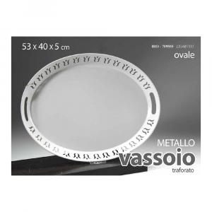 Gicos Vassoio Ovale in Metallo Bianco Con Bordino Decorato e Manici 53 x 40 x h5 cm
