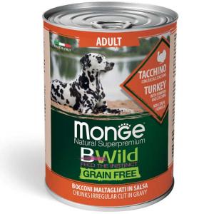 MONGE B-WILD GRAIN FREE - BOCCONCINI IN SALSA - TACCHINO, ZUCCA, ZUCCHINE ADULT 400 GR