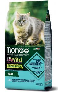 MONGE B-WILD GRAIN FREE - MERLUZZO, PATATE E LENTICCHIE - ADULT 1,5 KG