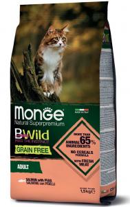 MONGE B-WILD GRAIN FREE - SALMONE CON PISELLI - ADULT 1,5 KG