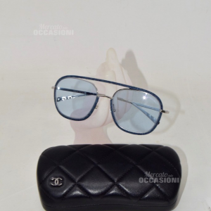 Sunglasses Chanel 4249-j Bordo Effect Jeans And Lens Light Blue With Case