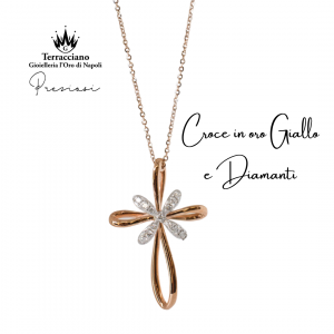 Collana con Croce in oro rosa e diamanti