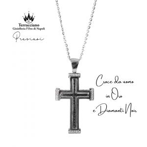 Croce da uomo in oro e diamanti neri