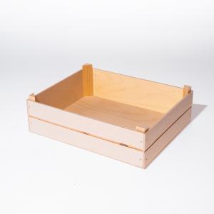 Cassetta bassa in legno con angolari rialzati piccola