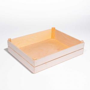 Cassetta bassa in legno con angolari rialzati grande
