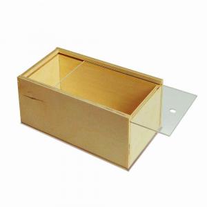 Scatola in legno con coperchio scorrevole trasparente 16,4x9