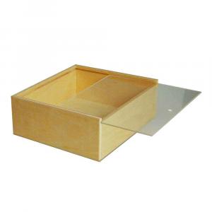 Scatola in legno con coperchio scorrevole trasparente 21,2x18,2
