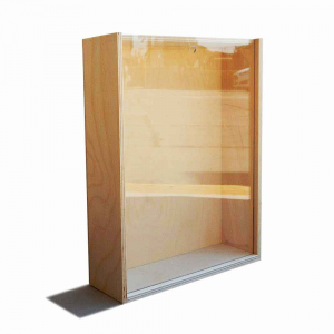 Scatola in legno con coperchio scorrevole trasparente 27x21,5
