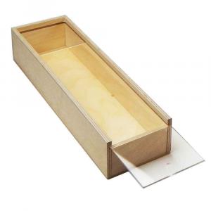 Scatola in legno con coperchio scorrevole trasparente 31x7,6