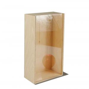 Scatola in legno con coperchio scorrevole trasparente per due bottiglie