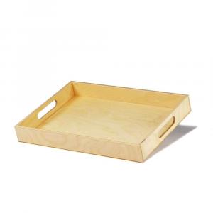 Vassoio rettangolare piccolo in legno con presa mano