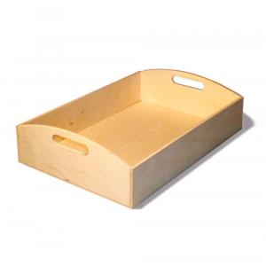 Vassoio rettangolare piccolo in legno con due lati arrotondati