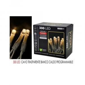 General Trade Luci Natalizie 300Led Bianco Caldo Cavo Trasparente